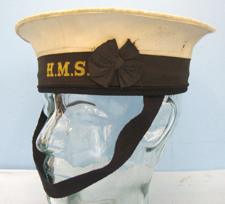 British Royal Navy Ratings White Top Cap Complete With a H.M.S. (His Majesty's S British Royal Navy Ratings White Top Cap Complete With a H.M.S. (His Majesty's S Accessories