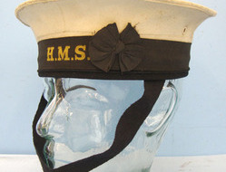 British Royal Navy Ratings White Top Cap Complete With a H.M.S. (His Majesty's S British Royal Navy Ratings White Top Cap Complete With a H.M.S. (His Majesty's S