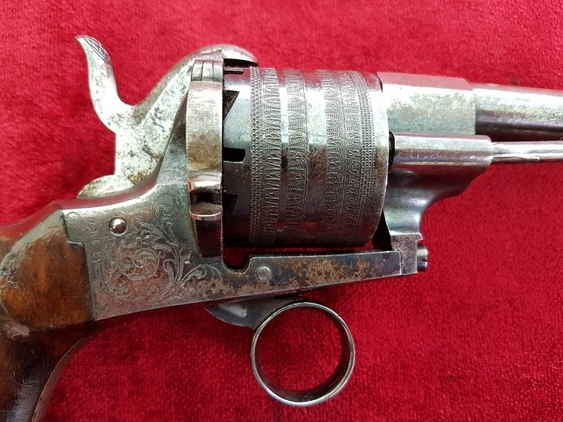 A very good continental Pin-fire 11mm 6 shot revolver with an unusual ring trigger and a five inch barrel. Ref 9796. Pistol / Hand Guns
