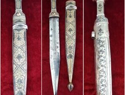 Silver Kindjal the hilt and scabbard covered in nielloed silver. ...