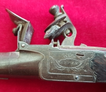 A flintlock pocket pistol with folding trigger by STYAN of Manchester. Circa 1803-1811. Ref 2139.   Muzzleloader