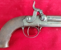 A rare double barrelled turn over percussion pistol by T. Lowe Chester. Circa 1830. Ref 9795   Muzzleloader
