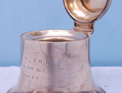 A & J Zimmerman Birmingham. Sterling Silver Bell Shaped British Officer's Presentation Ink Well With Hinged