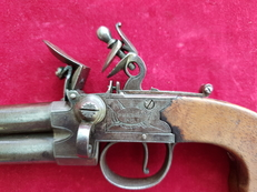 A scarce double Barrelled Tap Action Flintlock Pistol, made by BELLES & Co. circa 1800. Ref 2317.   Muzzleloader