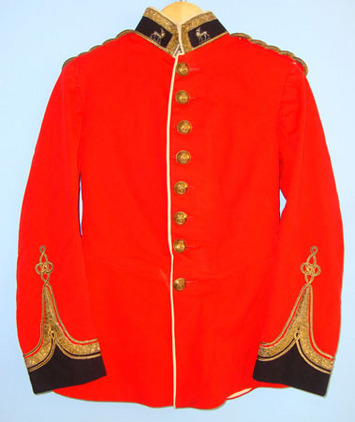 Samuel Gardner & Co, 1 Clifford Street, Saville Row W1 Royal Warwickshire Regiment 1st Lieutenant's Red Dress Tunic . Accessories