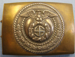 German SA (Sturmabteilungen) Two Piece Belt Buckle In Brass and With Silvered Fa Original WW2 German SA (Sturmabteilungen) Two Piece Belt Buckle In Brass and Wit