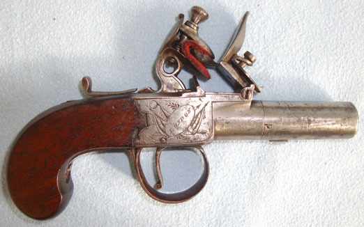 "Thomas Spencer,London  .45"" Bore Flintlock Pocket Pistol With Screw Off Barrel. Pistol / Hand Guns"