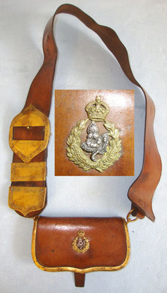 Worcestershire Imperial Yeomanry Leather Cross Belt & Pouch With King's Crown Ye Worcestershire Imperial Yeomanry Leather Cross Belt & Pouch With King's Crown Ye Accessories
