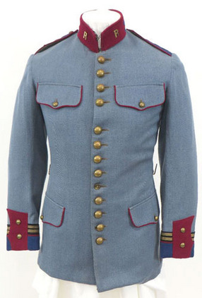 French Guards Officer's Horizon Blue Tunic / Jacket With Brass 'R' Insignia. WW1 Era French Guards Officer's Horizon Blue Tunic / Jacket With Brass 'R' Insig Accessories