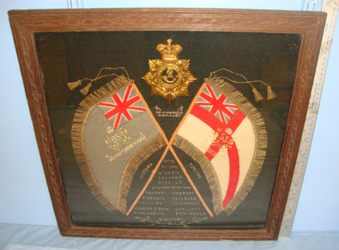 Hand Stitched Peninsular Wars Battle Honours & Crossed Standards Of The 53rd/ 85 Original Framed Hand Stitched Peninsular Wars Battle Honours & Crossed Standards Accessories
