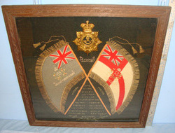 Hand Stitched Peninsular Wars Battle Honours & Crossed Standards Of The 53rd/ 85 Original Framed Hand Stitched Peninsular Wars Battle Honours & Crossed Standards