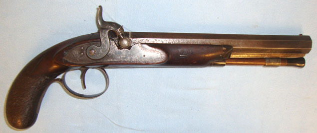 "John Crosby Brown, Hull English .60"" Bore Percussion Pistol (Converted From Flintlock) By John Crosby Br Pistol / Hand Guns"