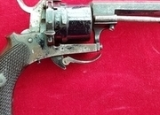 A good English 6 shot double action 7 mm antique pin-fire revolver with folding trigger. Ref 1121.   Muzzleloader