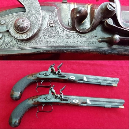 A very fine pair of Flintlock duelling pistols made by WILLIAMS & POWELL. Ref 9872. Pistol / Hand Guns