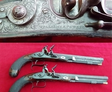 A very fine pair of Flintlock duelling pistols made by WILLIAMS & POWELL. Ref 9872.   Muzzleloader