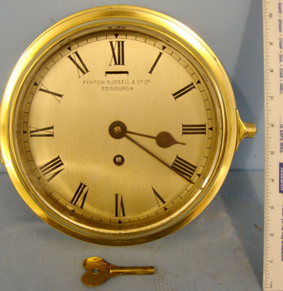 Fenton Rusell & Co Ltd, Edinburgh, Scotland Brass Cased Naval Bulkhead Ship's Clock By Fenton Rusell & Co Ltd, Edinburgh, Sc Accessories
