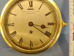 Fenton Rusell & Co Ltd, Edinburgh, Scotland Brass Cased Naval Bulkhead Ship's Clock By Fenton Rusell & Co Ltd, Edinburgh, Sc