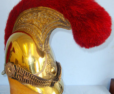 French Cuirassier / Dragoon Cavalry Regiment Officer's Helmet With Red Horse Hai French Cuirassier / Dragoon Cavalry Regiment Officer's Helmet With Red Horse Hai