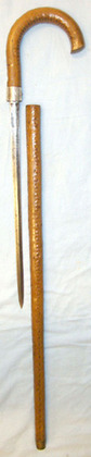 Victorian Gentleman's Silver Mounted Varnished 'Cabbage Stem' Sword Stick Engrav  Blades