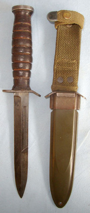 BM Co (Beckwith Manufacturing Co).  M3 Fighting Knife & M8 Scabbard With Integral Frog By BM Co. Blades