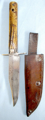 George Butler & Co., Trinity Works, Sheffield, England'  Bowie Knife With Stag Horn Scales & Leather Sheath. Blades