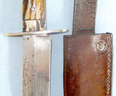 George Butler & Co., Trinity Works, Sheffield, England'  Bowie Knife With Stag Horn Scales & Leather Sheath. Knives