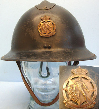 Belgian Fireman's Steel Helmet With Bronzed Badge, Liner and Chin Strap. WW1 Belgian Fireman's Steel Helmet With Bronzed Badge, Liner and Chin Strap. Accessories