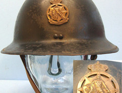 Belgian Fireman's Steel Helmet With Bronzed Badge, Liner and Chin...