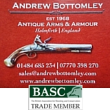 Andrew Bottomley Antique Arms & Armour. Mail Order Only. Established 1968.